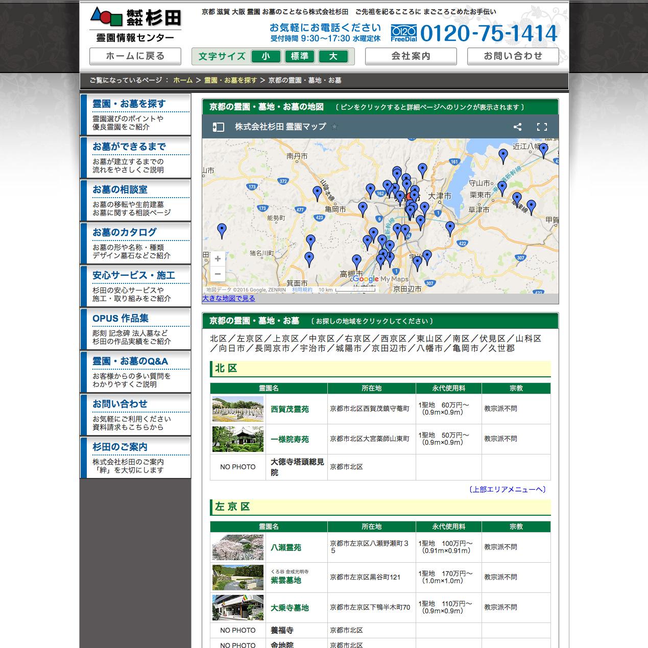 株式会社 杉田の霊園マップページ