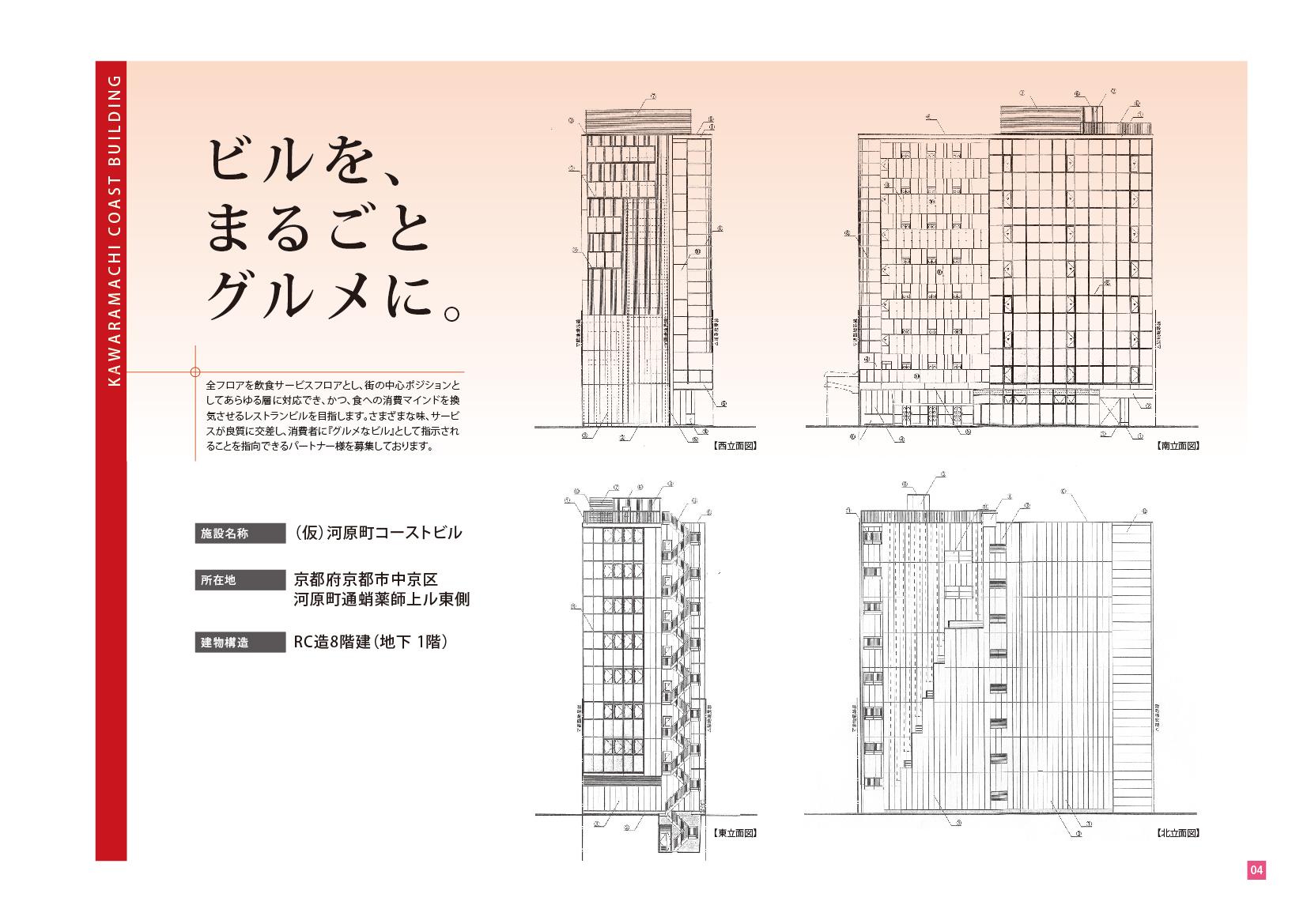 コースト京都河原町テナント募集要項 立面図