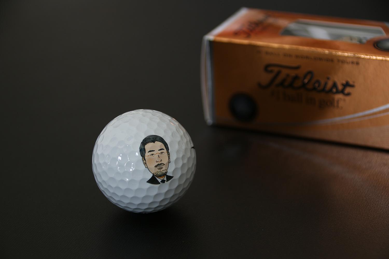 似顔絵ゴルフボールプリント01