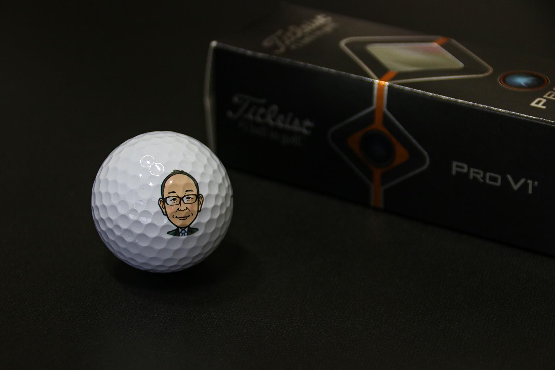 似顔絵プリントゴルフボール02