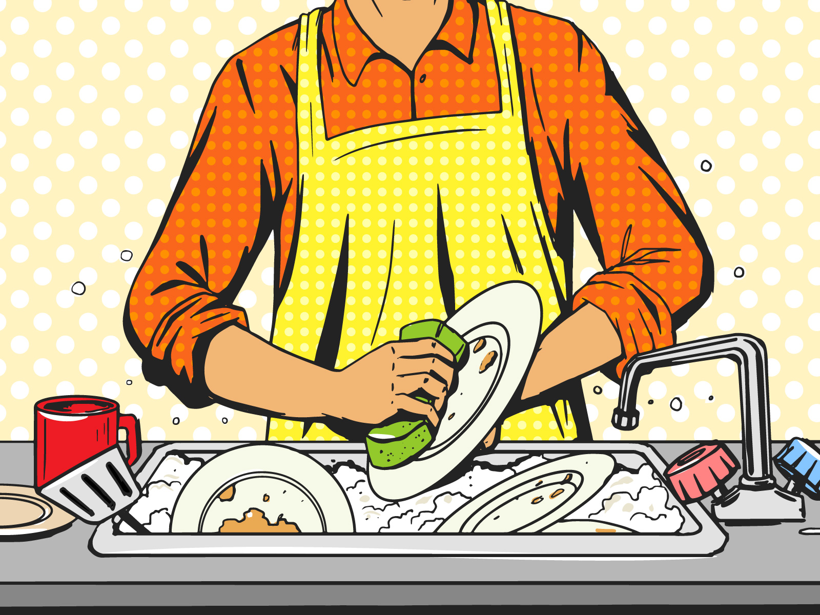 家事・皿洗いをする男性